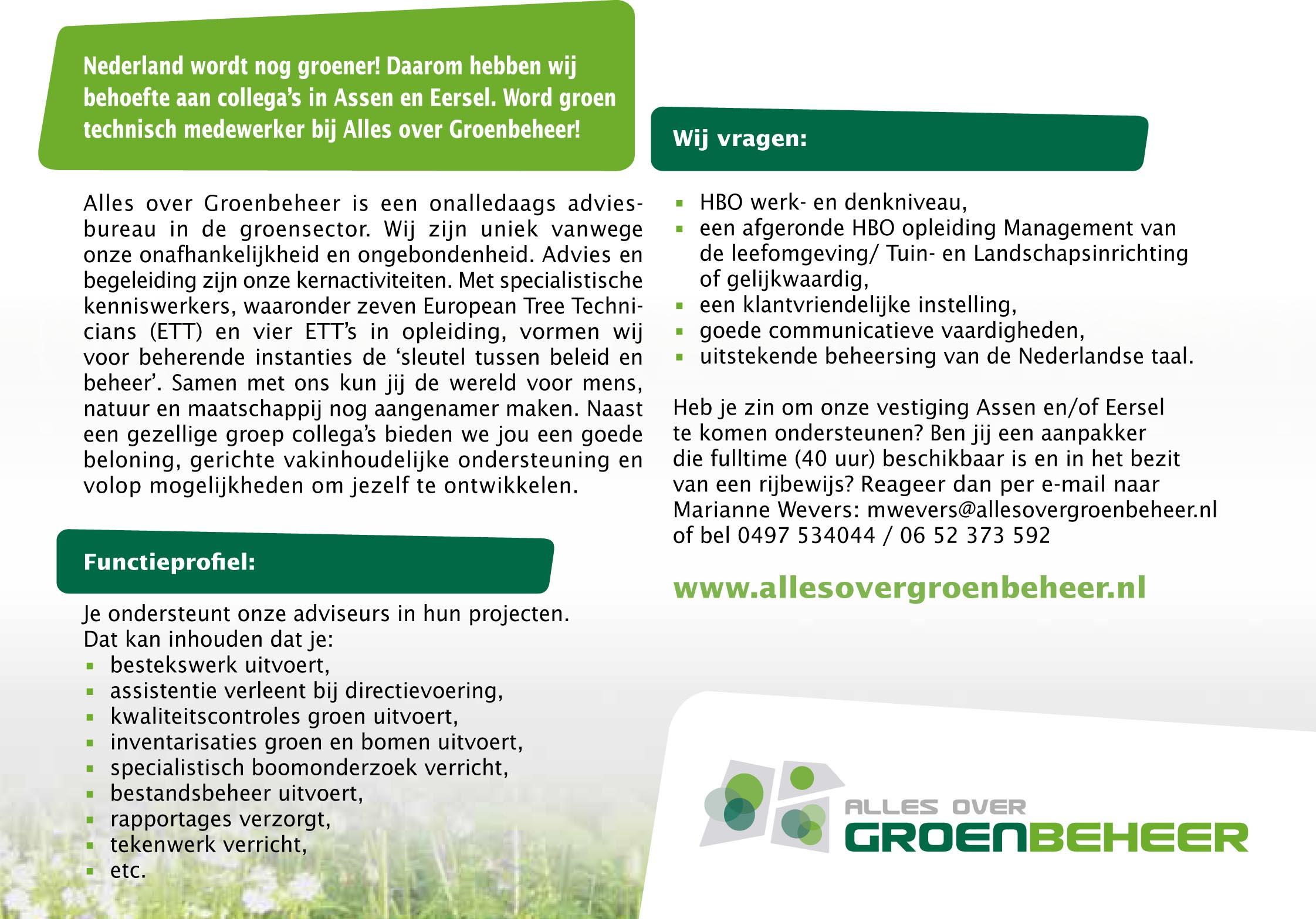 5bc71505c24 Groen Technisch Medewerker - Alles over Groenbeheer